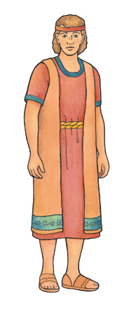 An illustration of a character from the Book of Mormon dressed in a red tunic, an orange robe, and sandals.