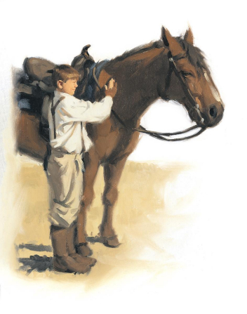 An illustration of a young boy brushing his horse, who is wearing a saddle.