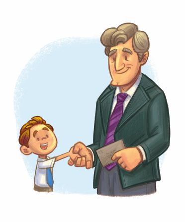 An illustration of a young boy in a white shirt and tie shaking hands with his bishop and handing him a tithing envelope.