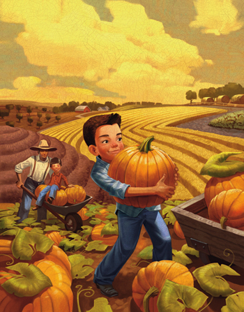 An illustration of a boy carrying a large pumpkin from a pumpkin patch to a wheelbarrow, with fields in the distance and clouds above.