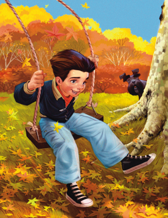 An illustration of a little boy playing on a swing hanging from a tree during autumn, while a black dog peeks out from behind the tree.