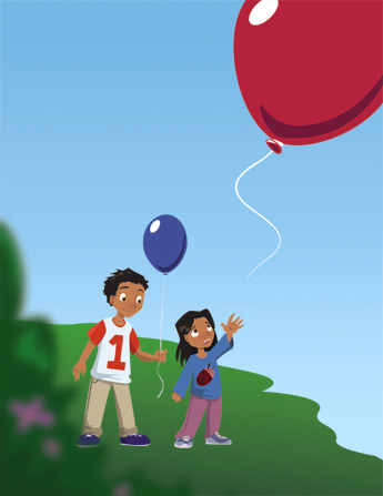 An illustration of a little girl who has accidentally let go of her red balloon, which is floating away, and her brother handing her his blue balloon.