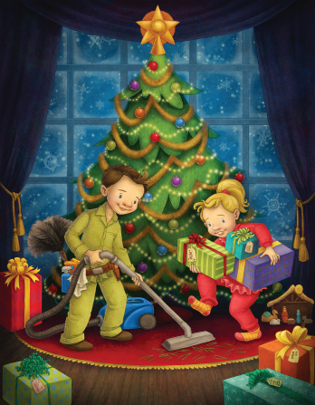 An illustration of a boy in his pajamas vacuuming under a Christmas tree while his sister carries presents under the tree.