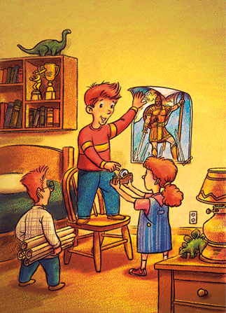 An illustration of a boy standing on his chair in his bedroom, taping a poster of Captain Moroni on his wall with another girl and boy helping.