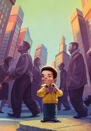An illustration of a young boy smiling and standing in a big city, with buildings around him and people walking by.