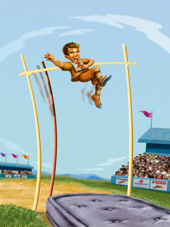 An illustration of a boy jumping over a pole vault, about to land on a mattress, in front of a stadium audience.