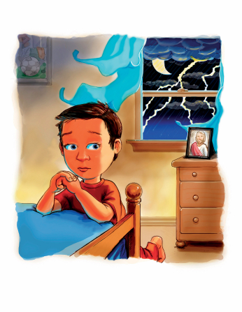 An illustration of a scared little boy kneeling by his bed and praying as lightning flashes outside his bedroom window.