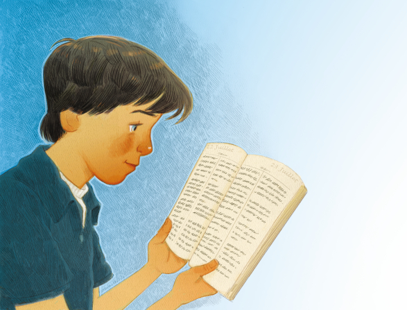 An illustration of a boy in a blue polo shirt holding a set of scriptures open and reading from them.