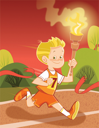 An illustration of a young boy wearing a jersey, running through a red-ribbon finish line and carrying an Olympic torch.