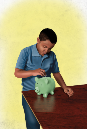 An illustration of a boy in a blue polo shirt standing and putting money into a green piggy bank on a table.