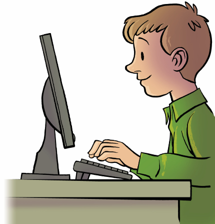 An illustration of a boy in a green shirt typing on a keyboard and looking at a computer screen.