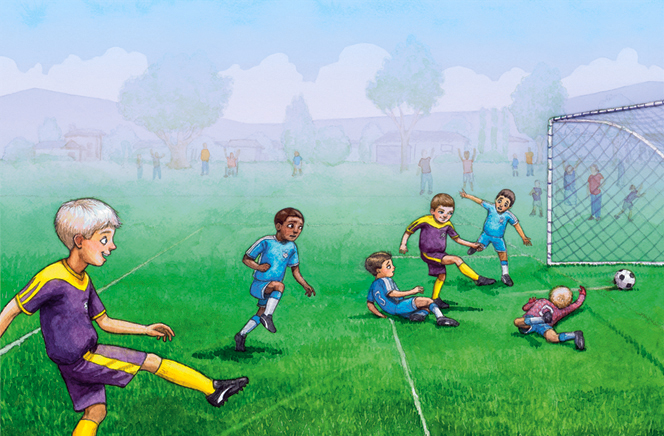 An illustration of a team of boys playing soccer, with a boy in a yellow and purple jersey kicking the soccer ball and making a goal.