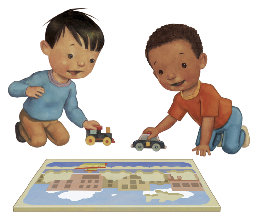An illustration of two boys kneeling down, playing with a toy car and train while looking at a puzzle on the floor.