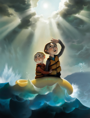 An illustration of two young boys in life jackets floating on a raft during a storm on the sea, with the sun breaking through the clouds overhead.