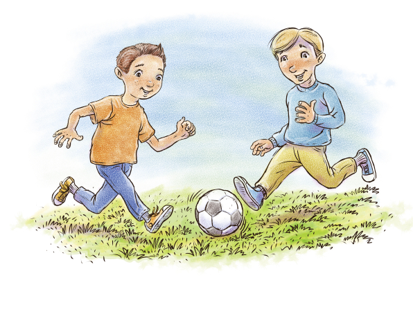 An illustration of a boy in an orange shirt playing a soccer game with another boy in a blue shirt.