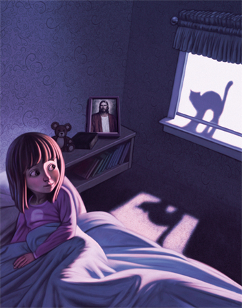 An illustration of a young girl sitting up in her bed with her back to the window, turning to look at the silhouette of a cat in the moonlight.