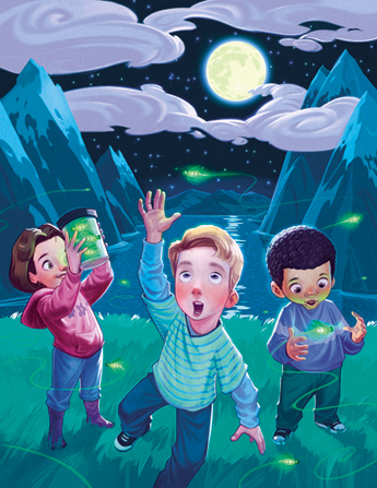 An illustration of two boys and a girl standing outside at night catching fireflies, with one boy reaching up and the girl holding a jar of fireflies.