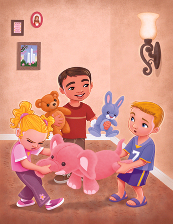 An illustration of a boy and girl tugging on a stuffed pink elephant while a boy stands between them and tries to offer them different stuffed animals.