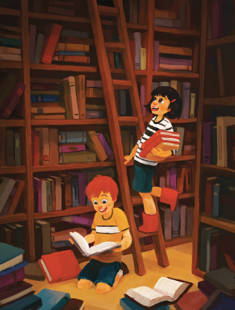 An illustration of a room lined with bookshelves, with a girl climbing up a ladder with an armful of books and a boy kneeling on the floor reading.