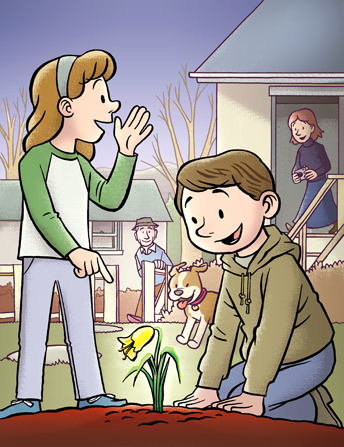 An illustration of a boy kneeling in the dirt, looking at a newly bloomed lily, with his sister standing next to him and yelling to their mom and dad.