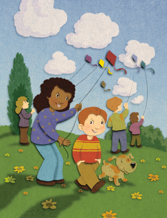 An illustration of a boy and a girl flying a kite together at a park with a dog standing next to them and three other people flying kites in the background.