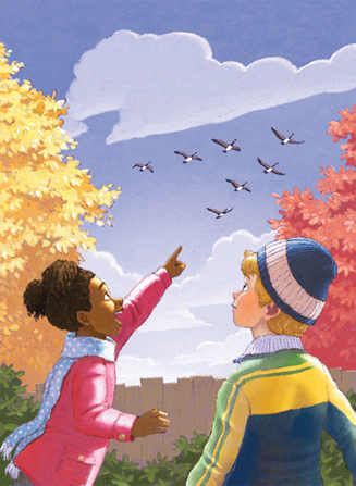 An illustration of a girl in a pink jacket, standing beside a boy in a blue jacket and pointing up to the sky as a flock of geese fly overhead.