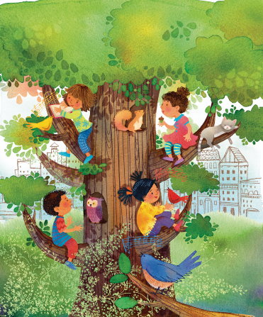 An illustration of three girls and a boy climbing up a tree filled with birds and squirrels, with a city in the background.