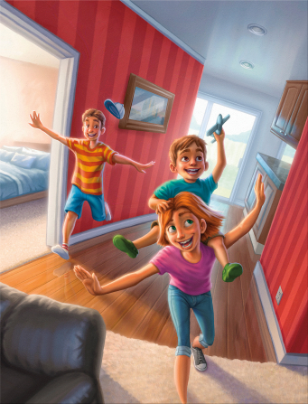 An illustration of a girl carrying her little brother on her back as he pretends to fly a toy airplane, with their older brother pretending to fly a plane.