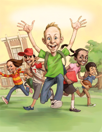 An illustration of a boy in a green shirt jumping in the air, happy that school is out for the summer, with a group of kids running behind him.