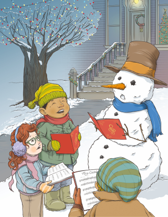 An illustration of two boys and a girl in winter clothes holding music and singing Christmas carols next to a snowman.