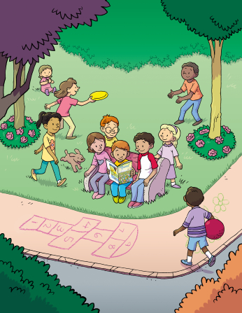 An illustration of a group of children sitting on a bench at a park, reading the Friend magazine while other children around them play with a Frisbee and a ball.