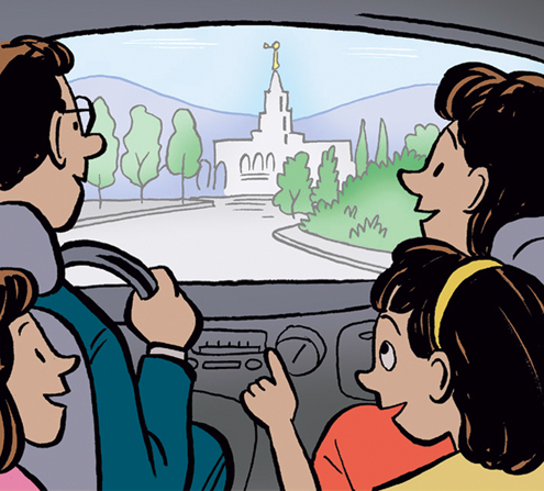 An illustration of a father driving with his wife in the front seat and their two daughters in the back seat as they look at a temple in the distance.