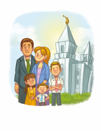 An illustration of a mother and father standing outside of a temple together with their three children.