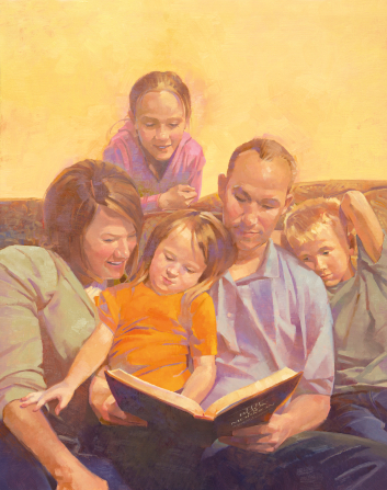 An illustration of a father sitting on a couch and reading a book to his wife, son, and two daughters.