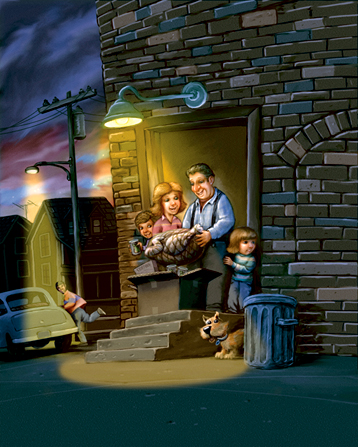 An illustration of a family of four standing on their doorstep at night, opening a cardboard box containing a turkey and canned foods.