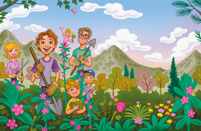 An illustration of a family working in a flower garden together, holding shovels, shears, leaves, flowers, and a rock.