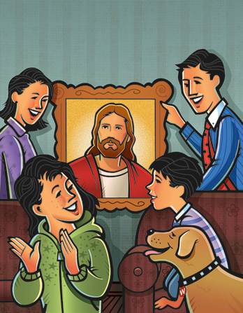 An illustration of a mother and father hanging a picture of Christ on their wall as their son, daughter, and dog watch.