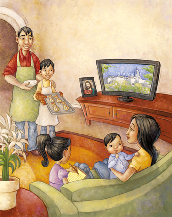 An illustration of a mother sitting on a couch with two children while the father and a son stand holding baked goods.
