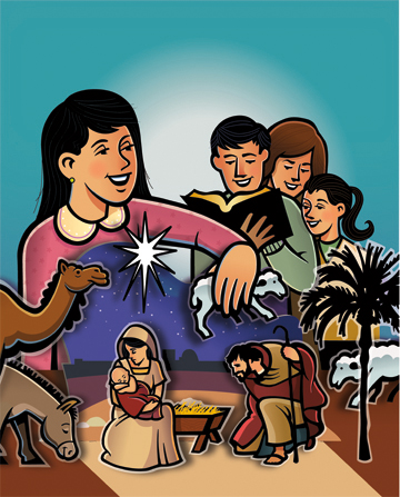 An illustration of a girl placing a sheep in a Nativity scene, with her father, mother, and sister reading the Nativity story from the Bible.
