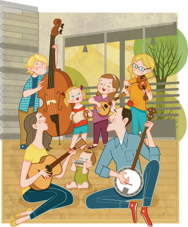 An illustration of a father, mother, son, three daughters, and a baby playing a variety of instruments in their home together.