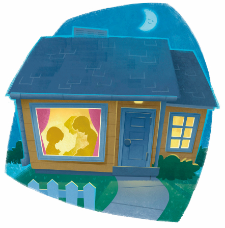 An illustration of a home at night with the window showing a silhouette of a family kneeling and praying.