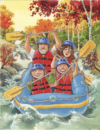 An illustration of a mother, father, and two children holding paddles and floating on a raft down a river, with trees on either side.