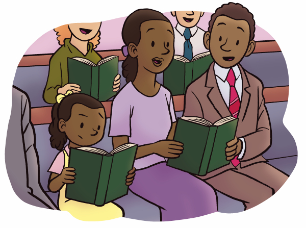 An illustration of a mother, father, and daughter singing from a hymnbook during sacrament meeting.