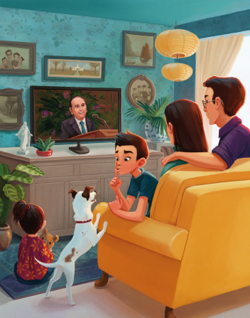 An illustration of a mother, father, son, and daughter watching President Monson speak on television during general conference.