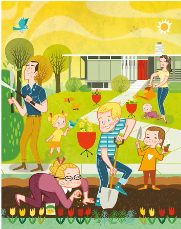 An illustration of a father, mother, son, and four daughters gardening outside a home together with the sun shining overhead.