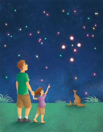 An illustration of a father holding hands with his daughter as they look up at the stars, while a kangaroo and its joey look up at the stars as well.