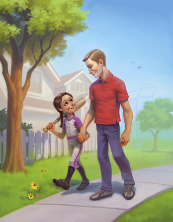 An illustration of a girl wearing a softball uniform, carrying a bat over her shoulder, and holding hands with her father as they walk down a sidewalk.