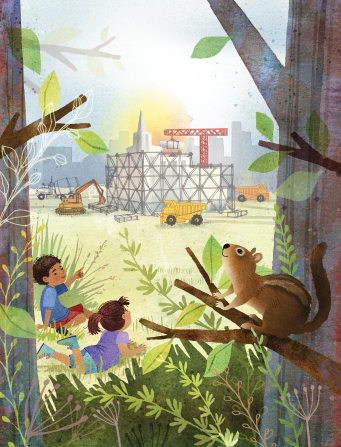 An illustration of a boy and a girl sitting on the grass, watching a temple being constructed in the distance, with a squirrel sitting in the foreground.