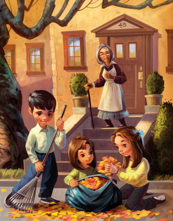 An illustration of a boy raking leaves and two girls putting leaves in a bag while an elderly woman stands with a cane on the steps and watches them.