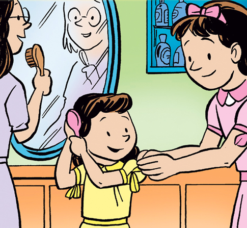 A little girl brushes her hair as her sister helps her with her dress and their mother stands at a mirror and brushes her own hair.